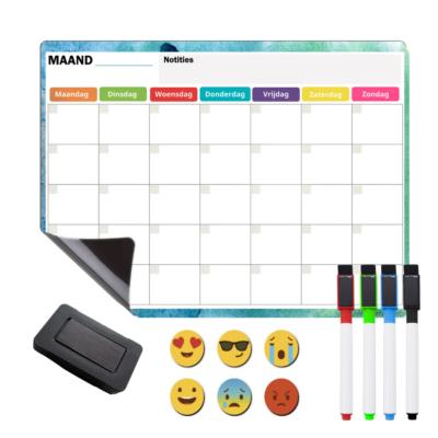 Magnetische Weekplanner Whiteboard - Koelkast Maandplanner - Magnetische Kalender Kind - Familieplanner en Gezinsplanner - Whiteboard Set met 4 Magnetische Markers, Wisser en 6 Pictogrammen